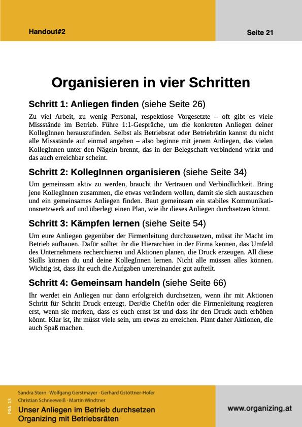 Organizing Handout#02: Organisieren in vier Schritten