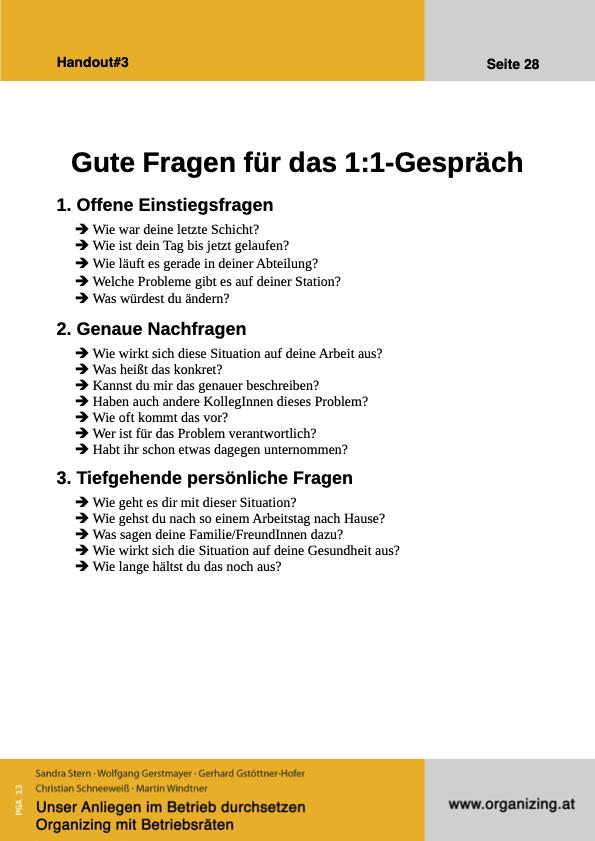 Organizing Handout#03: Gute Fragen 1:1-Gespräch