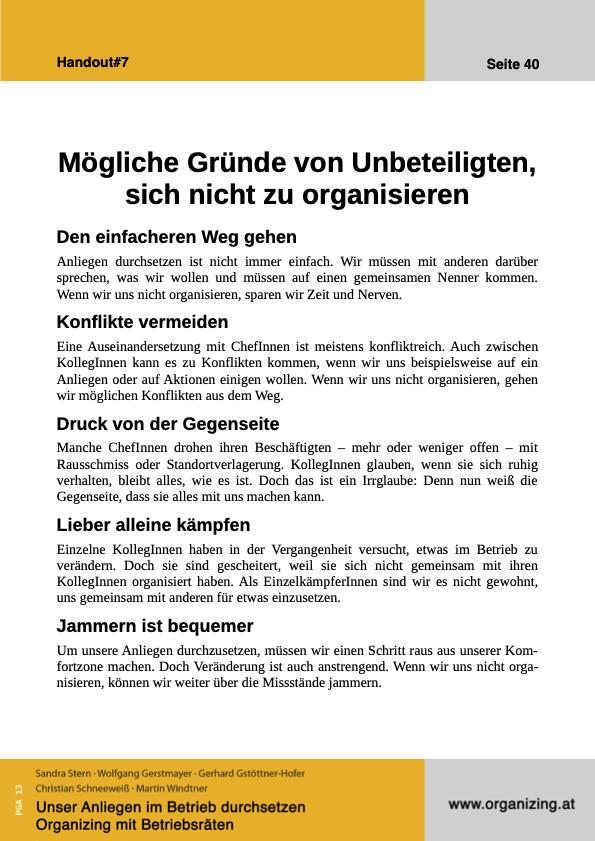 Organizing Handout#07: Mögliche Gründe von Unbeteiligten sich nicht zu organisieren