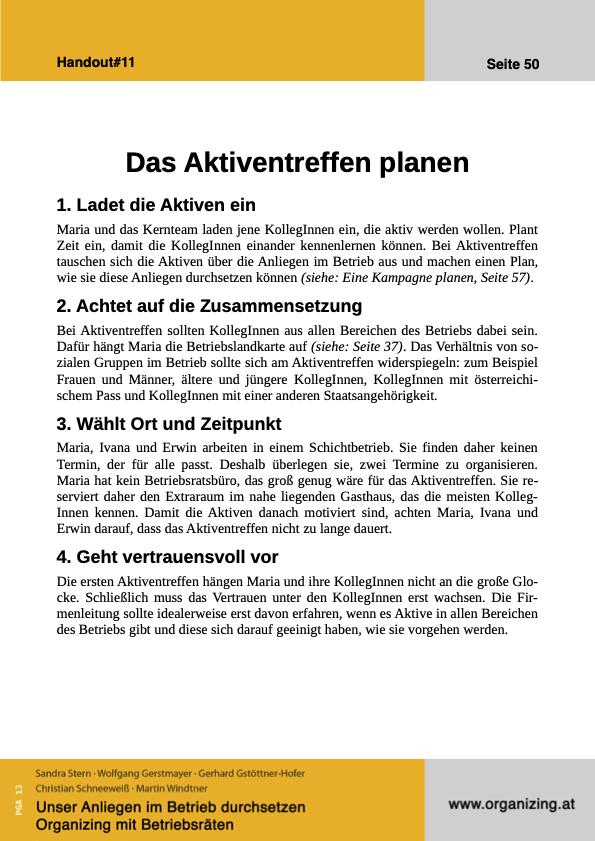 Organizing Handout#11: Das Aktiventreffen planen