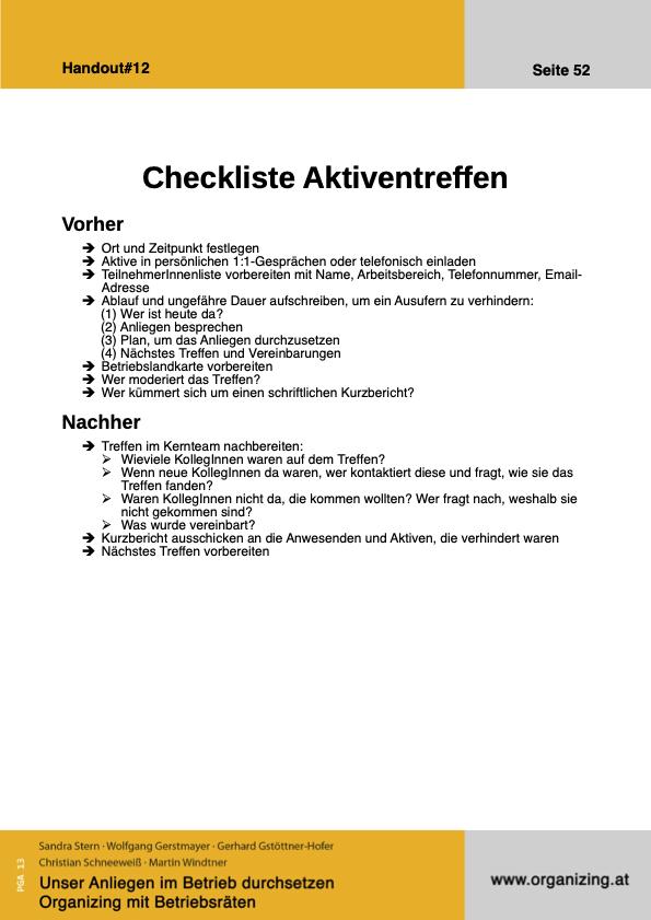 Organizing Handout#12: Checkliste Aktiventreffen